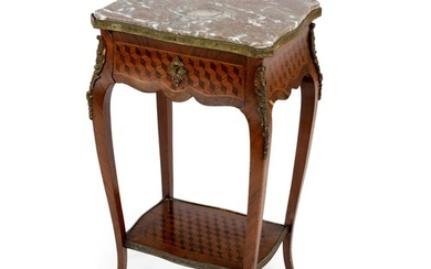A FRENCH WALNUT AND GILT-METAL MOUNTED SIDE TABLE