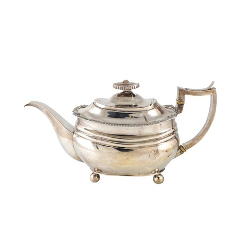 A GEORGE III SILVER TEAPOT OF PLAIN LOAF OF BREAD FORM, egg ...