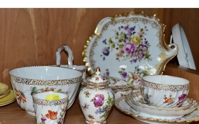 A GROUP OF TEN PIECES OF LATE 20TH CENTURY 'DRESDEN' PORCELA...