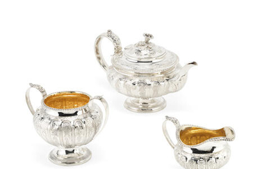 A George IV / Victorian matched silver three-piece tea service