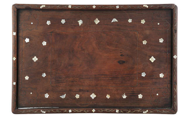 §A MOTHER OF PEARL AND METAIL INLAID WOODEN...
