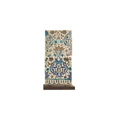 A PAIR OF 16TH / 17TH CENTURY SYRIAN GLAZED TILES decorated...