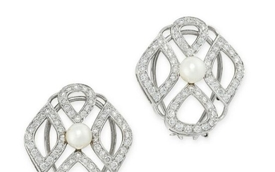 A PAIR OF PEARL AND DIAMOND EARRINGS in 18ct white