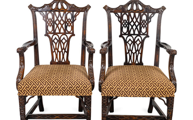 A Pair of Chinese Chippendale Style Mahogany Open Armchairs