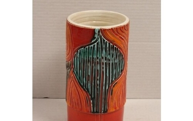 A Poole Pottery 1960s Red & Blue ribbed cylindrical vase. Me...