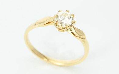 A SOLITAIRE DIAMOND RING Featuring a round brilliant cut diamond weighing an estimated 0.53cts, in 18ct gold, ring size O, 2.4GMS