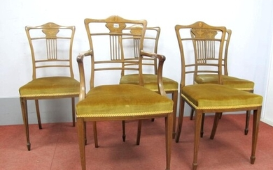 A Set of Six Early XX Century Rosewood Salon Chairs, (two ar...