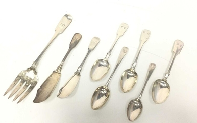 A VICTORIAN SILVER FISH SERVING FORK, ALONG WITH OTHER SILVER FLATWARE