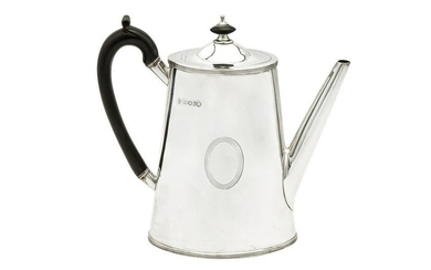 A Victorian sterling silver coffee pot, London 1880 by