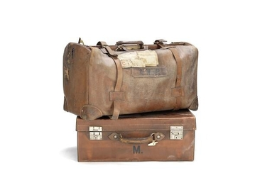 A late Victorian / Edwardian leather Gladstone bag together with an early 20th century leather dressing case