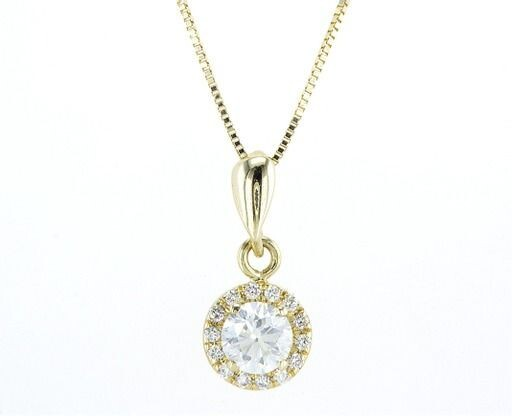 AIG Certified - 14 kt. Yellow gold - Necklace with pendant - Diamonds, Round Brilliant+14kt Chain