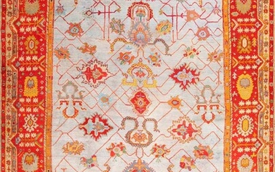 ANTIQUE TURKISH ARTS AND CRAFTS OUSHAK CARPET. 19 ft x 14 ft 2 in (5.79 m x 4.32 m).