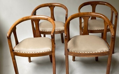 ART DECO ARMCHAIRS, a set of four, solid walnut framed with ...