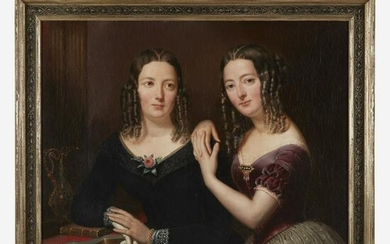 American School 19th century Portrait of Two Young