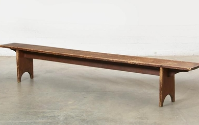 An American country stained pine long bench