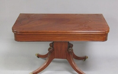 An early 19c mahogany fold over breakfast table, the table t...