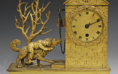 An early 19th century French ormolu mantel timepiece, the drum cased movement with silk suspension