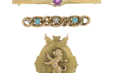 An early 20th century turquoise and split pearl chain bar brooch, a 9ct gold ruby bar brooch and and early 20th century 9ct gold brooch depicting a lion.