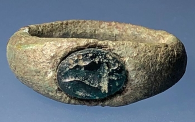 Ancient Roman Bronze Ring with a Turquoise Intaglio with an image of Cornucopia- the Horn of Plenty-Symbol of Prosperity - .×.×. cm