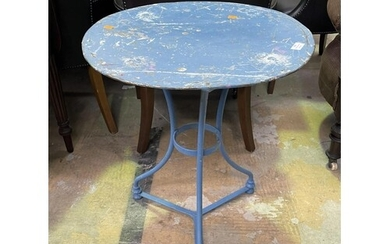 Antique French blue painted metal garden table