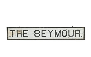 Antique Signage, 'The Seymour' Painted Wood Sign.