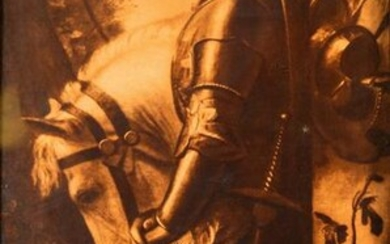 Beautiful Large Antique Lithograph of a Young Crusader