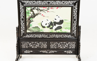 Carved Wood Table Screen with Embroidered Panel