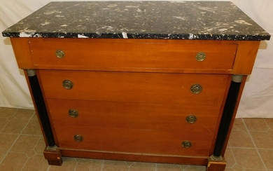 Cherry Marble Top French Empire Style 4 Drawer Chest