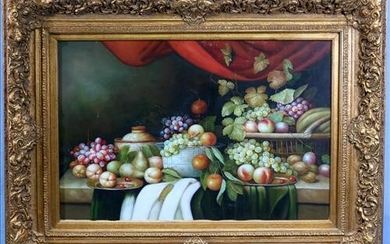 Contemporary oil on canvas of still life fruits