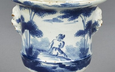 Delft blue and white urn, mid 18th c.