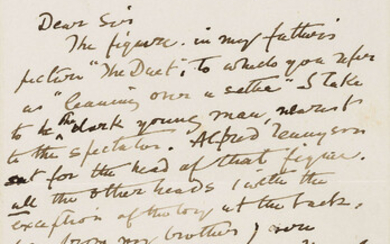"""Dickens (Charles).- Stone (Marcus) Autograph Letter signed to """"Dear Sir"""", 1887, """"The only member of the Dickens household who figures in the picture, is the white poodle 'Timber'. I know of no portrait or sketch of C.D. by my father. I never painted..."""