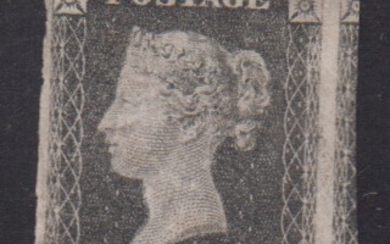 ENGLAND. SG 3. 1d. grey-black. pl. 7. Very fine unused copy with fine to huge margins all around. Only small hinge remaints at back. See photo of back also. Very scarce in this fine condition.