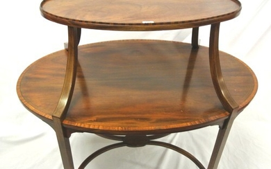 Edwardian oval 2 tier inlaid mahogany occasional table with ...