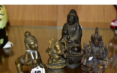 FOUR SMALL ASIAN BRONZE FIGURES comprising Balakrishna in cr...
