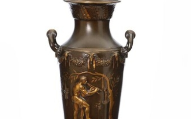 NOT SOLD. Ferdinand Barbedienne: A patinated and gilt bronze lamp of amphora shape. Marked F. Barbedienne. H. 70 cm. – Bruun Rasmussen Auctioneers of Fine Art