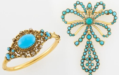 Gold and Turquoise Bow Pendant-Brooch and Turquoise and Diamond Bangle Bracelet