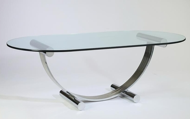 """Italian Moderne chrome and glass table, 83""""l"""