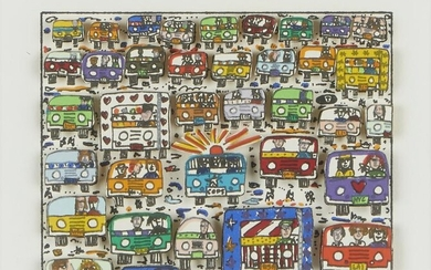 """James Rizzi """"Oncoming Traffic"""" Collage"""
