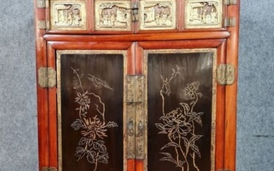 Japanese style cabinet in exotic wood, gilded wood and lacquered wood