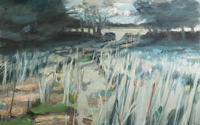KATE DAVIES (1987-2021) OIL ON CANVAS Long Grass Unsigned ...