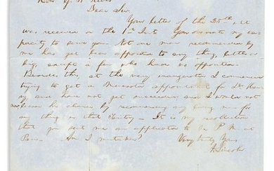 """LINCOLN, ABRAHAM. Autograph Letter Signed, """"A.Lincoln,"""""""