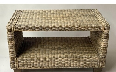 LOW TABLE, woven bicolour rattan and cane rectangular with u...