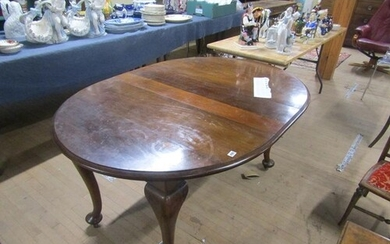 Late 19c oval mahogany dining table in a Queen Ann style 106...