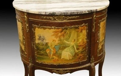 Louis Xv Style Painted And Mahogany Marble Top Commode