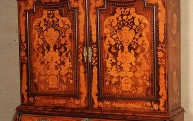 MARQUETRY INLAID DUTCH STYLE BOMBE CABINET