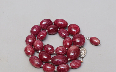 NECKLACE, ruby, about 111 grams.