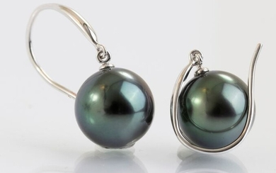 No Reserve Price - 10x11mm Round Peacock Green Tahitian Pearls - 14 kt. White gold - Earrings