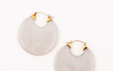 PAIR OF QUARTZ AND GOLD EARRINGS