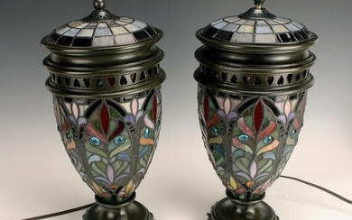 PAIR STAINED GLASS URN FORM LAMPS