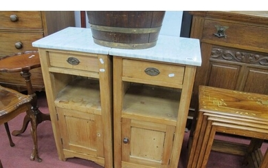 Pair of Early XX Century Pine Continental Bedside Cupboards,...